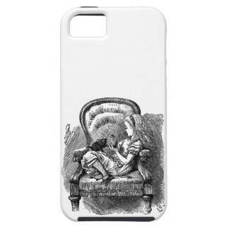 Vintage Alice in Wonderland in chair book drawing Tough iPhone 5 Case