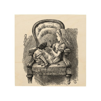 Vintage Alice in Wonderland in chair book drawing Wood Wall Art