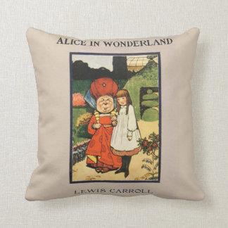 Vintage Alice in Wonderland Lewis Carroll book Cushion