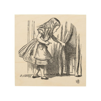 Vintage Alice in Wonderland looking for the door Wood Wall Decor
