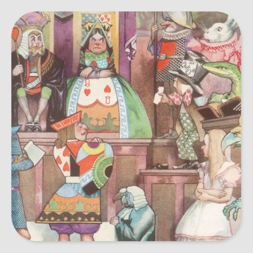 Vintage Alice in Wonderland, Queen of Hearts Square Stickers