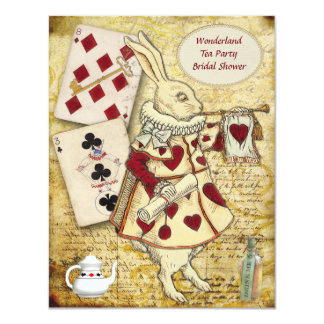 Vintage Alice in Wonderland Rabbit Bridal Shower 11 Cm X 14 Cm Invitation Card