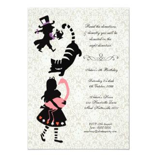 Vintage Alice in Wonderland Tea Party Birthday 13 Cm X 18 Cm Invitation Card