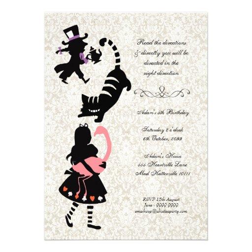 Vintage Alice in Wonderland Tea Party Birthday Custom Announcement