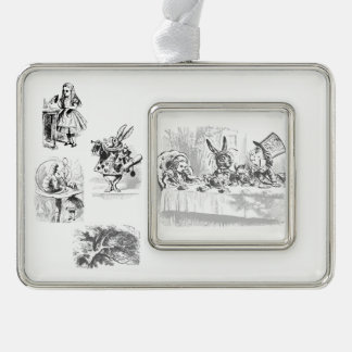 Vintage Alice in Wonderland Tea Party Ornament Silver Plated Framed Ornament
