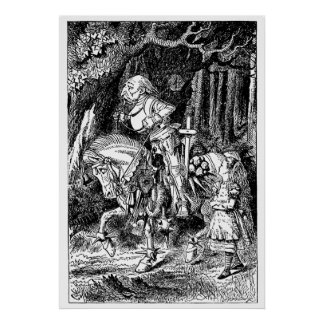 Vintage Alice in Wonderland White Knight and Alice Poster