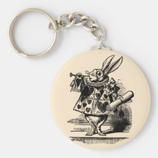 Vintage Alice in Wonderland White Rabbit as Herald Keychains