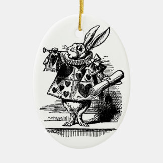 Vintage Alice in Wonderland, White Rabbit Ceramic Oval Decoration