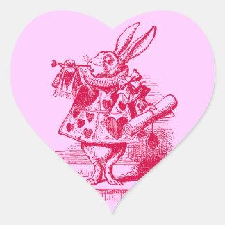 Vintage Alice in Wonderland White Rabbit Heart Sticker