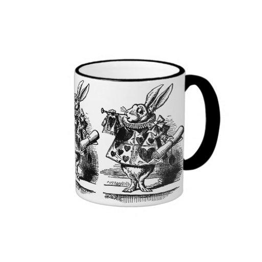 Vintage Alice in Wonderland, White Rabbit Herald Coffee Mug