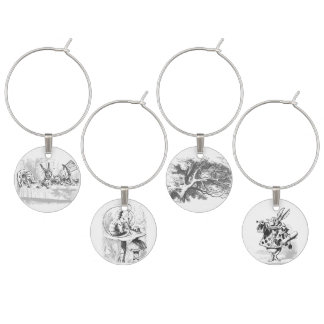 Vintage Alice in Wonderland Wine Charms