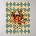 Vintage Alice White Rabbit Print
