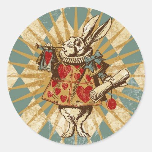 Vintage Alice White Rabbit Sticker