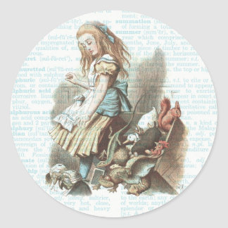 Vintage Alice Wonderland Tags Dictionary Page Blue