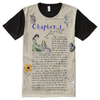 Vintage Alice's Adventures in Wonderland Book Art All-Over Print T-Shirt