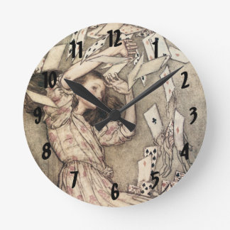 Vintage Alices Adventures in Wonderland by Rackham Round Clock