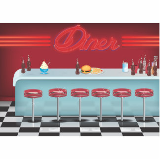 Vintage All American Diner Standing Photo Sculpture