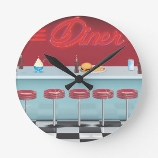 Vintage All American Diner Round Clock
