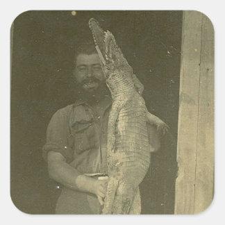 Vintage Alligator Man Photo c 1920 Square Sticker