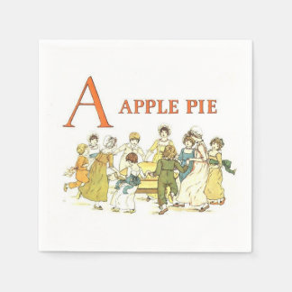 Vintage alphabet letters apple pie paper napkins