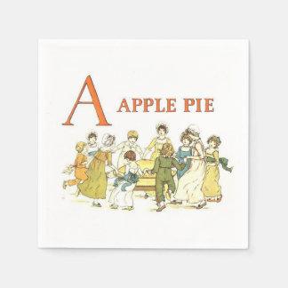 Vintage alphabet letters apple pie paper napkins disposable serviette