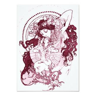 "Vintage Alphonose Mucha Art 5"" X 7"" Invitation Card"