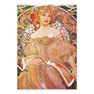 "Vintage Alphonse Maria Mucha Art 3.5"" X 5"" Invitation Card"