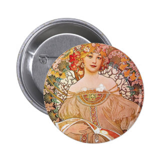 Vintage Alphonse Maria Mucha Art Pinback Button