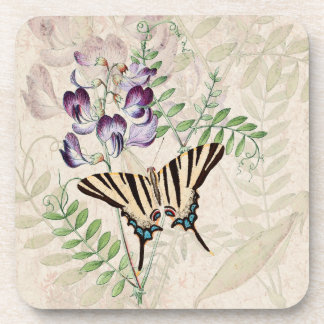 Vintage Alpine Flowers Wildlife Butterfly Coaster