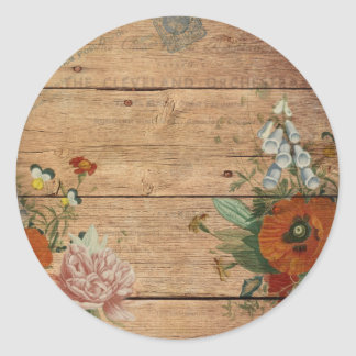 vintage altered art round sticker