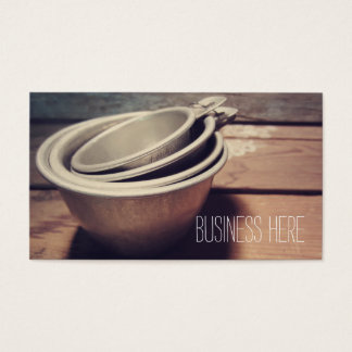 Vintage Aluminium Measuring Cups Retro Inspired Business Card