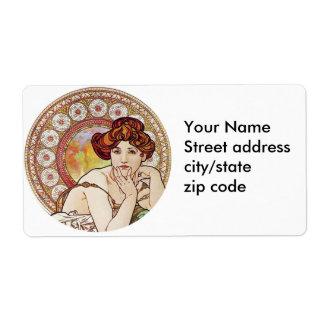 Vintage Amber Art Shipping Label