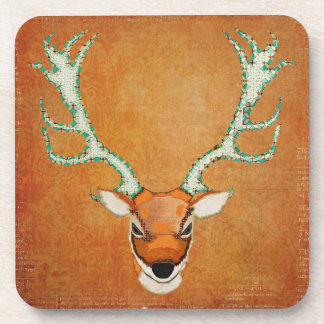 Vintage Amber Stag Coaster