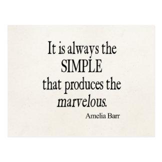 Vintage Amelia Barr Simple Produce Marvelous Quote Postcard