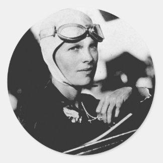 Vintage Amelia Earhart Photo Round Stickers