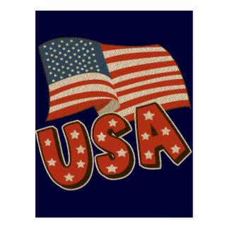 Vintage America Flag Postcard