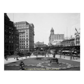 Vintage America, Washington St, New York City Postcard