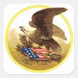 Vintage American Bald Eagle w/Shield Square Sticker