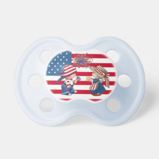 Vintage American Boy and Girl Fireworks Pacifier