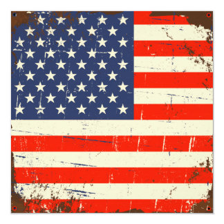 Vintage American Flag 13 Cm X 13 Cm Square Invitation Card