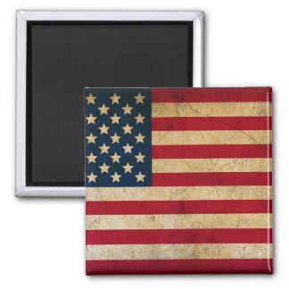 Vintage American Flag 2 Inch Square Magnet