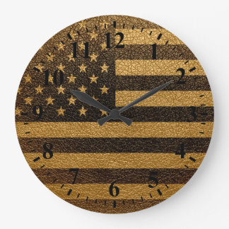 Vintage American Flag #2 Large Clock