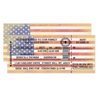 Vintage American Flag 4th Of July Party Ticket Card