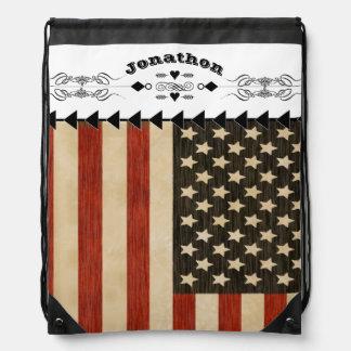 Vintage American Flag Backpack Cinch Bag