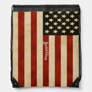 Vintage American Flag Backpack Drawstring Bags