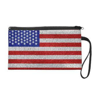 Vintage American Flag Bagettes Bag Wristlets