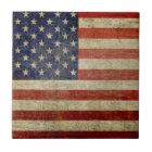 Vintage American Flag Ceramic Tile