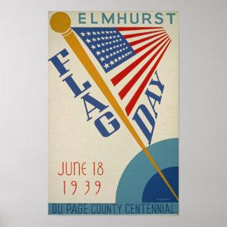 Vintage American Flag Day USA America poster
