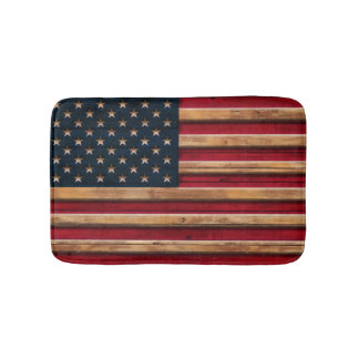 Vintage American Flag Distressed Wood Look Bath Mats