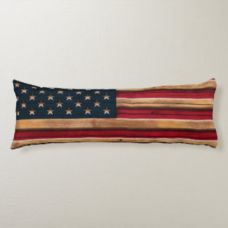 Vintage American Flag Distressed Wood Look Body Pillow